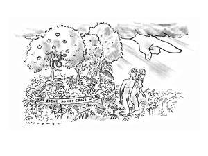 Under the angry finger of God, Adam and Eve leave the Garden of Eden, whic? - New Yorker Cartoon by Bill Woodman