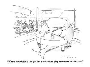"""""""What's remarkable is that just last week he was lying despondent on the b?"""" - New Yorker Cartoon by Bill Woodman"""