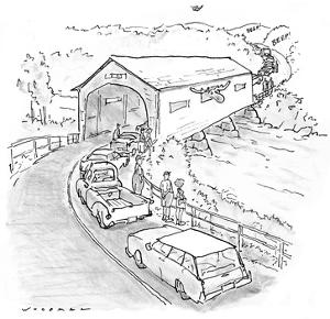 While a moose sticks his head out the side of a covered wooden bridge, tra… - New Yorker Cartoon by Bill Woodman
