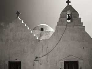 Greece, Mykonos. Church Steeples and Crosses by Bill Young