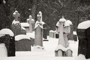 Ottawa, Canada, Beechwood Cemetery. Snow-Covered Gravestone by Bill Young