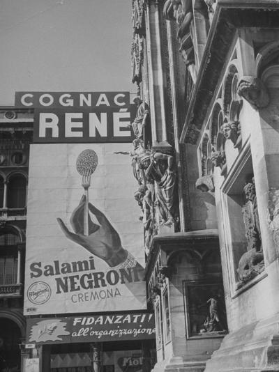 Billboard Advertising Salami Next Door to the Duomo-Alfred Eisenstaedt-Photographic Print