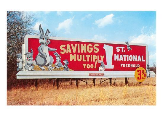 Billboard for Savings, Rabbits--Art Print