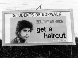 Billboard in Norwalk, Connecticut, Ridiculing of Long Hair