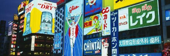 Billboards Lit Up at Night, Dotombori District, Osaka, Japan--Photographic Print
