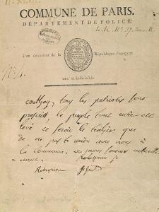 Billet adressé par Saint-Just et Robespierre à Georges Couthon