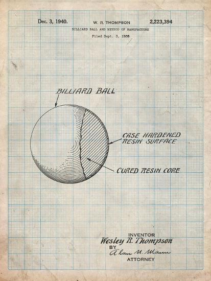 Billiard Ball Patent-Cole Borders-Art Print