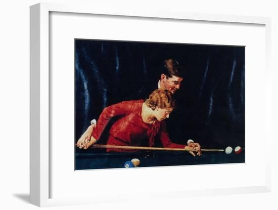 Billiards Is Easy to Learn (or Couple Playing Billiards)-Norman Rockwell-Framed Giclee Print