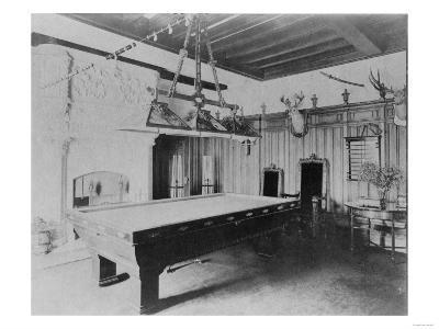 Billiards Room with Deer and Elk Head Photograph-Lantern Press-Art Print