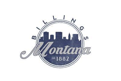 Billings, Montana - Skyline Seal (Blue)-Lantern Press-Art Print