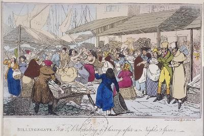 Billingsgate: Tom and Bob Taking a Survey after a Nights' Spree, London, 1820-Henry Thomas Alken-Giclee Print