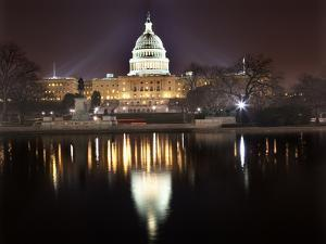 Us Capitol Night Reflection Washington Dc by BILLPERRY
