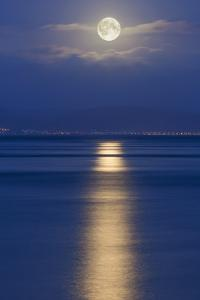 Full Moon over the Mumbles, Swansea, Wales, United Kingdom, Europe by Billy