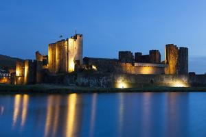Caerphilly Castle at Dusk, Wales, Gwent, United Kingdom, Europe by Billy Stock