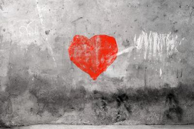 Red Heart Graffiti Over Grunge Cement Wall by Billyfoto