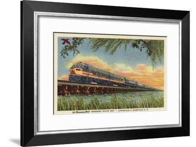 Biloxi Bay, Mississippi - The Humming Bird Railroad Train-Lantern Press-Framed Art Print