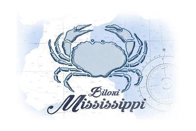 Biloxi, Mississippi - Crab - Blue - Coastal Icon-Lantern Press-Art Print