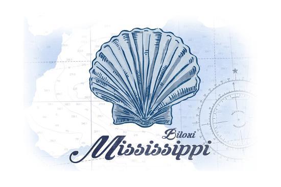 Biloxi, Mississippi - Scallop Shell - Blue - Coastal Icon-Lantern Press-Art Print