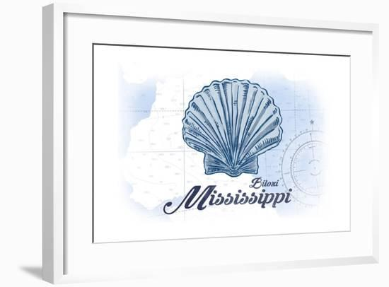 Biloxi, Mississippi - Scallop Shell - Blue - Coastal Icon-Lantern Press-Framed Art Print
