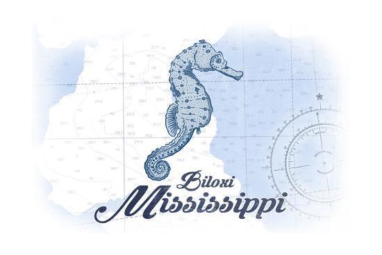 Biloxi, Mississippi - Seahorse - Blue - Coastal Icon-Lantern Press-Art Print