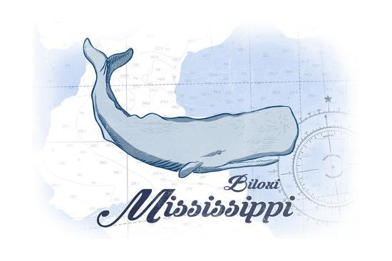 Biloxi, Mississippi - Whale - Blue - Coastal Icon-Lantern Press-Art Print