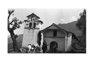 Abancay, Peru. Bingham's Prefect and His Aide Outside a Small Chapel on Horseback by Bingham Hiram