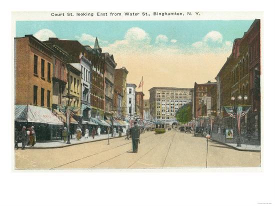 Binghamton, New York - Eastern View of Court Street from Water Street-Lantern Press-Art Print
