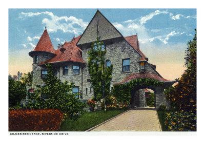 Binghamton, New York, Exterior View of the Kilmer Residence on Riverside Drive-Lantern Press-Framed Art Print
