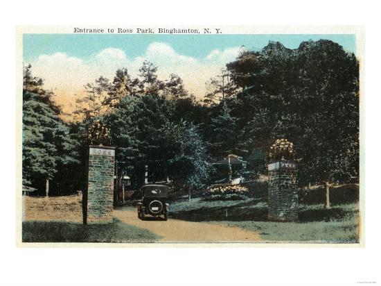 Binghamton, New York - Ross Park Entrance View-Lantern Press-Art Print