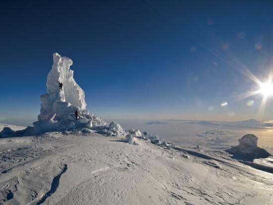 Biologists Explore a Partially Collapsed Ice Tower on Mount Erebus-Peter Carsten-Photographic Print