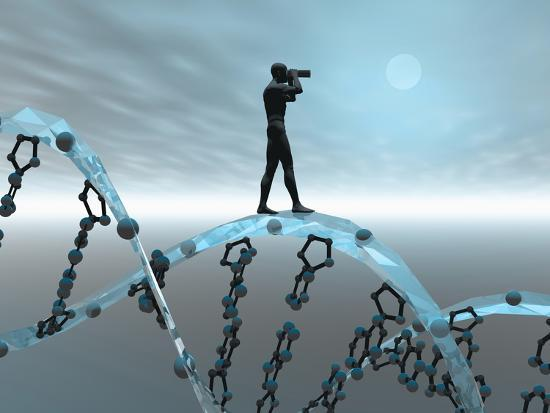 Biomedical Illustration of a Male Human Likeness Standing on a DNA Strand Peering into the Future-Carol & Mike Werner-Photographic Print