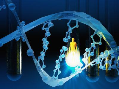 Biomedical Illustration of a Stylized DNA Molecule in Blue, Test Tubes, and a Human Likeness-Carol & Mike Werner-Photographic Print