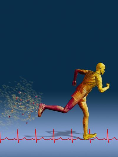 Biomedical Illustration of a Wireframe Runner with an Ekg-Carol & Mike Werner-Photographic Print