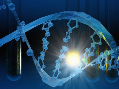 Biomedical Illustration of Stylized DNA in Blue with Test Tubes-Carol & Mike Werner-Photographic Print