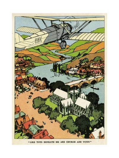Biplane Above Church and Town--Giclee Print