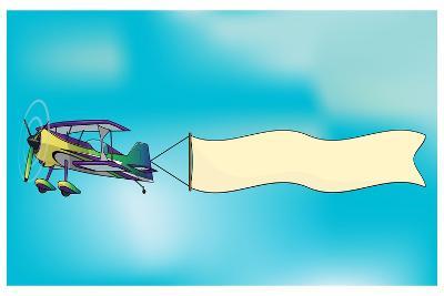 Biplane Aircraft Pulling Advertisement Banner- Milat_oo-Art Print