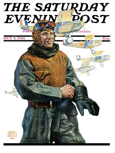 """Biplane Pilot,"" Saturday Evening Post Cover, October 9, 1926-Edgar Franklin Wittmack-Giclee Print"