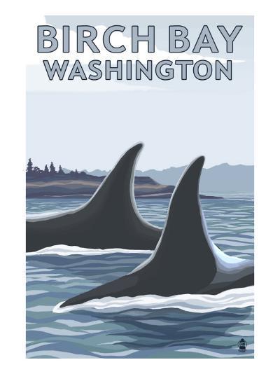 Birch Bay, Washington, Orca Fins-Lantern Press-Art Print