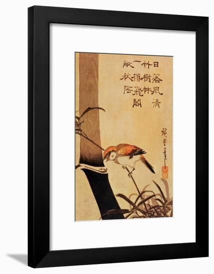 Bird and Bamboo, circa 1830-Ando Hiroshige-Framed Premium Giclee Print