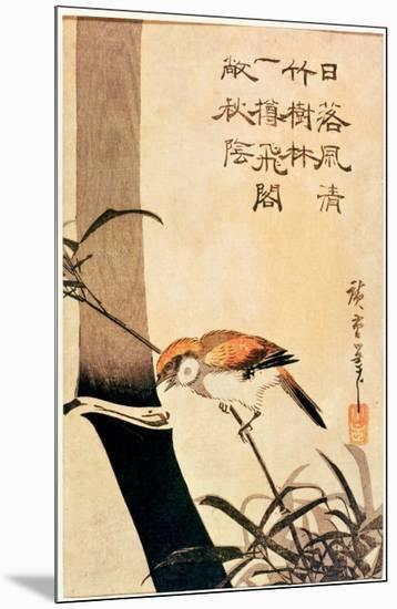 Bird and Bamboo, circa 1830-Ando Hiroshige-Mounted Giclee Print