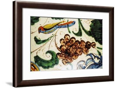 Bird and Bunch of Grapes, Detail from Decoration of Large Decorative Bulbous Jug for Vin Santo--Framed Giclee Print