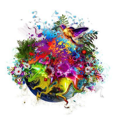 Bird and Flowers-reznik_val-Art Print