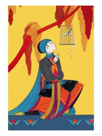 Bird and Kneeling Girl--Art Print