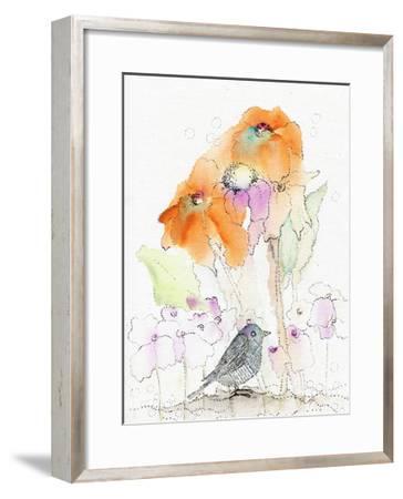 Bird and Orange Flowers-Sarah Ogren-Framed Art Print
