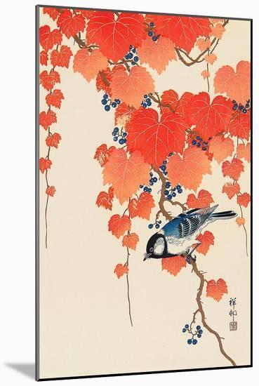 Bird and Red Ivy-Koson Ohara-Mounted Premium Giclee Print