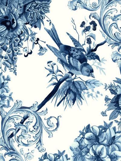 Bird & Branch in Indigo II-Naomi McCavitt-Art Print