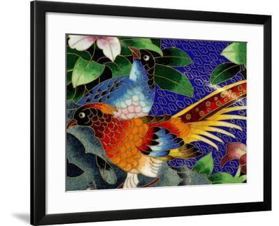 Bird Cloisonne Plate, Hand Made with Tiny Copper Wires and Powered Enamel, China-Cindy Miller Hopkins-Framed Photographic Print