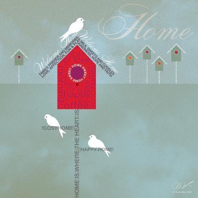 Bird House - Blue Grey-Dominique Vari-Art Print