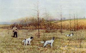 Bird Hunter with His Setters in the Field, Circa 1900