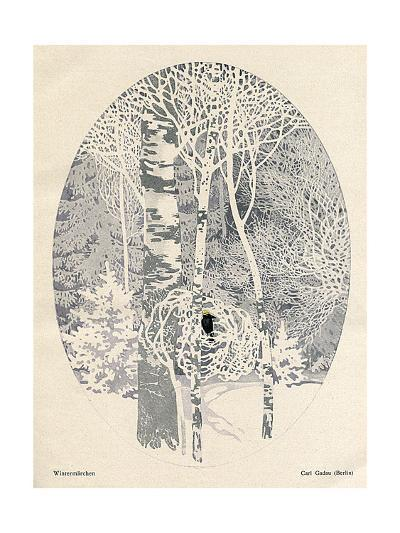 Bird in a Winter Wood-Carl Gadau-Giclee Print